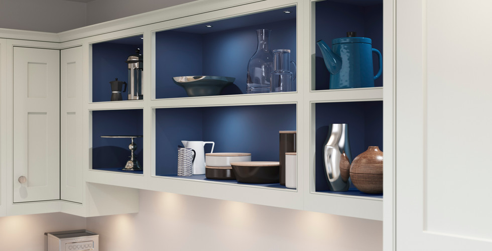 Open Display Wall Cabinets in a Contrast