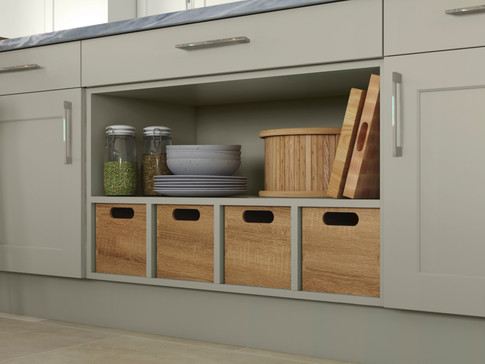 Open Display Base Unit with Wooden Stora