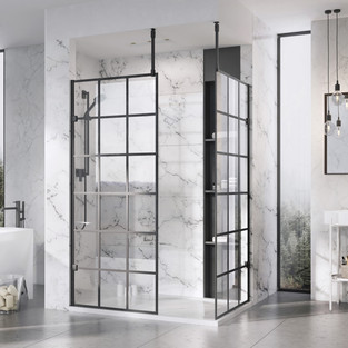 Liberty Black Grid Wetroom panels with C
