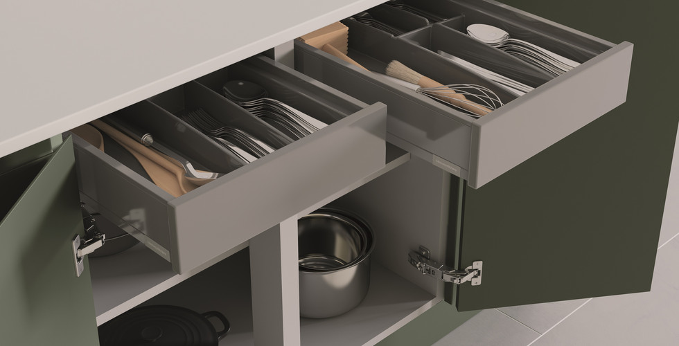 Hi-Line Double Base with Internal Drawer