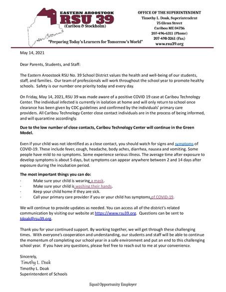 Covid Notice Letter 5-14-21
