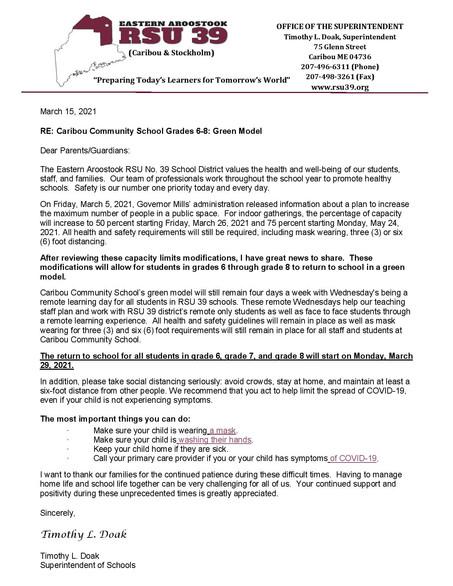 Caribou Community School Grades 6-8: Green Model