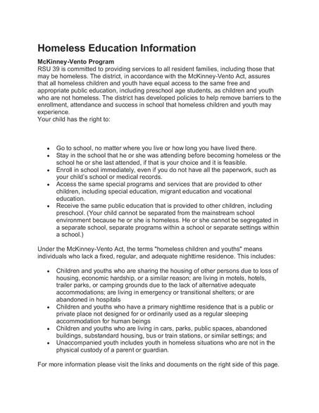 Homeless Education Information