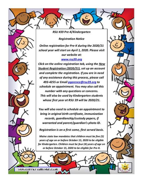 Pre-K/Kindergarten Registration Letter 2020-2021