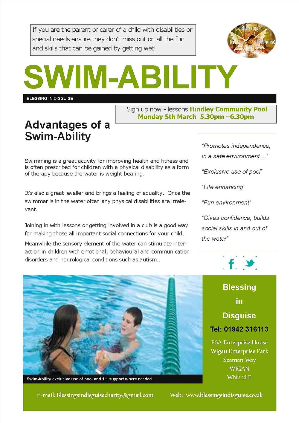 Swim Ability #Hindley #BlessingInDisguise #Swim #DisabilitySwim