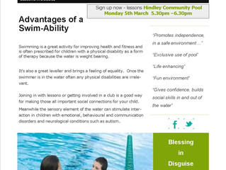 Swim-Ability new sessions start Monday 5th March 2018