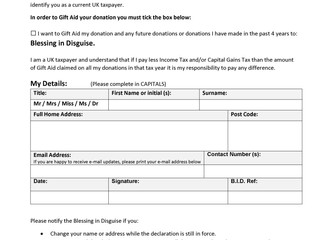 Blessing in Disguise Gift Aid Donation Form (GAD) Latest Version