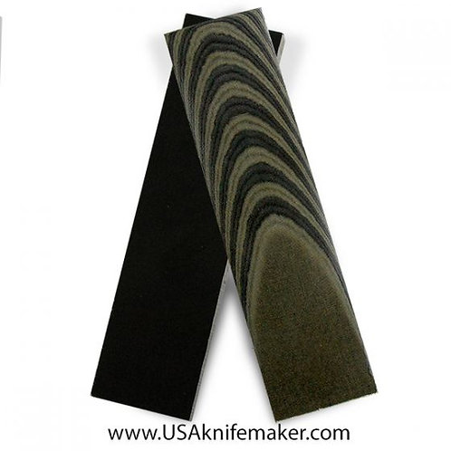 Black & Green Linen Micarta for Knives that Require 1 Scale