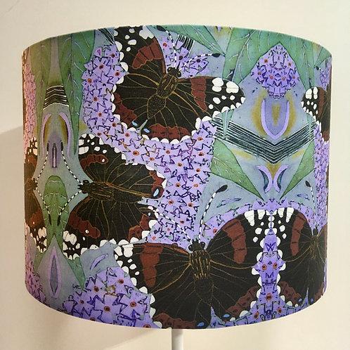 RED ADMIRALS & BUDDLIA drum lampshade. Handmade. Batik design. 3 sizes available