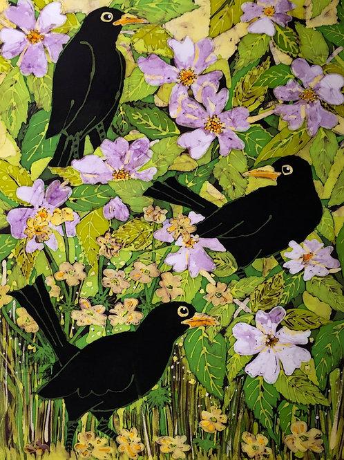 Blackbirds & Dog Roses Ltd Edition Giclee Print