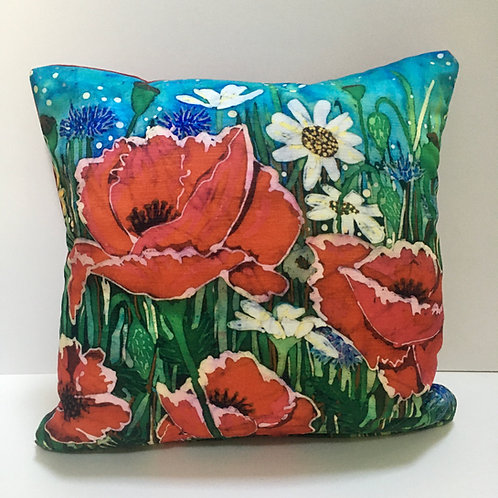 SUMMER MEADOW 40cm square cushion with feather pad. Handmade. Chenille fabric. B