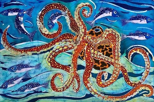 Swimming Octopus Ltd Edition Giclee Print