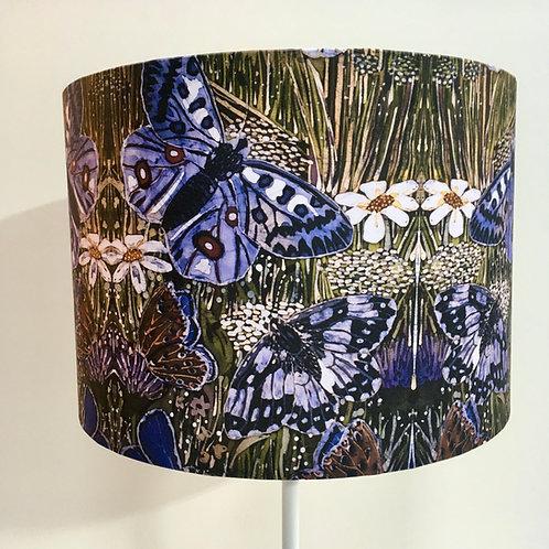 MOUNTAIN MEADOW drum lampshade. Batik design. Handmade. 3 sizes