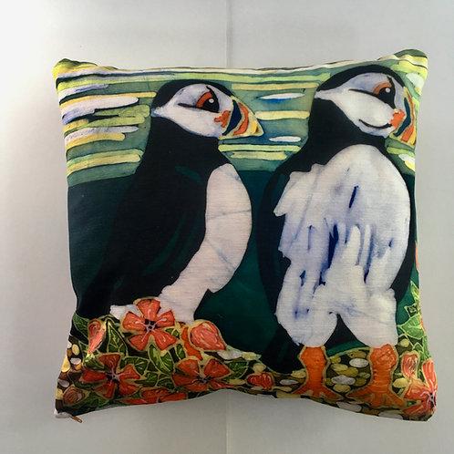 PUFFINS square cushion. My Batik design printed onto chenille fabric. Handmade.
