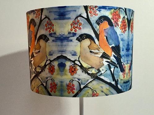 BULLFINCHES lamp shade. drum. batik design. Handmade. 3 sizes available