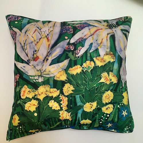Spring in the Garden 40cm square cushion with feather pad. Handmade. Chenille fa