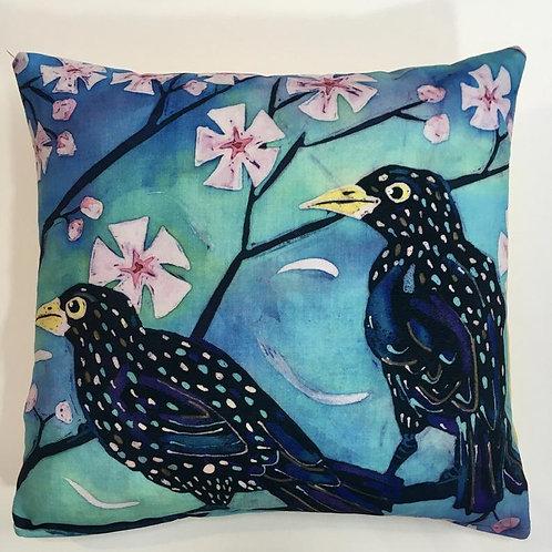 Starlings Cushion 40cm x 40cm. Feather pad. Batik design printed on chenille.