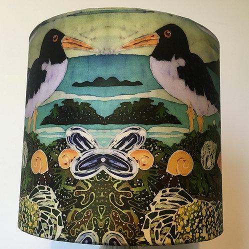 ALONG THE SHORE lamp shade. drum. batik design. Handmade. 3 sizes available