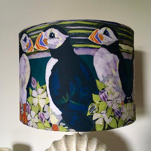 PUFFINS lamp shade. drum. batik design. Handmade. 3 sizes available