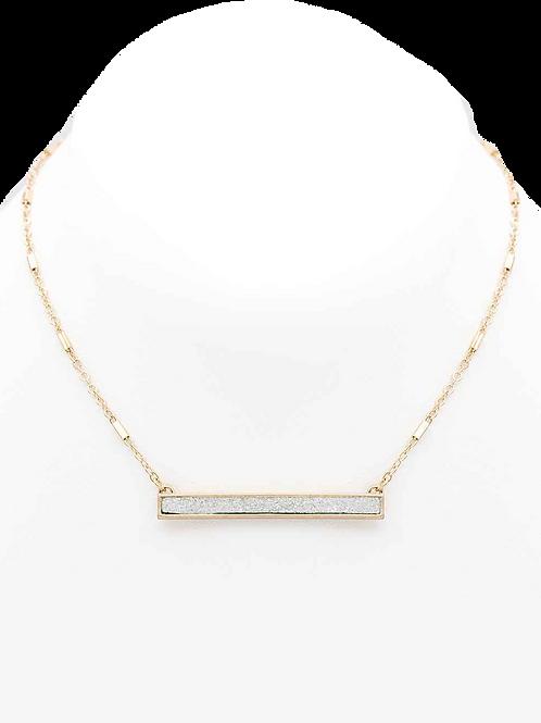 Silver Druzy Bar Necklace