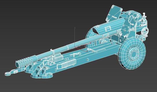 D-30 122mm Howitzer: 3ds Max 2019