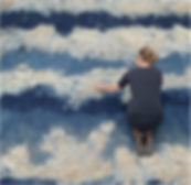Contemporary textile art from felt feature wall abstract blue