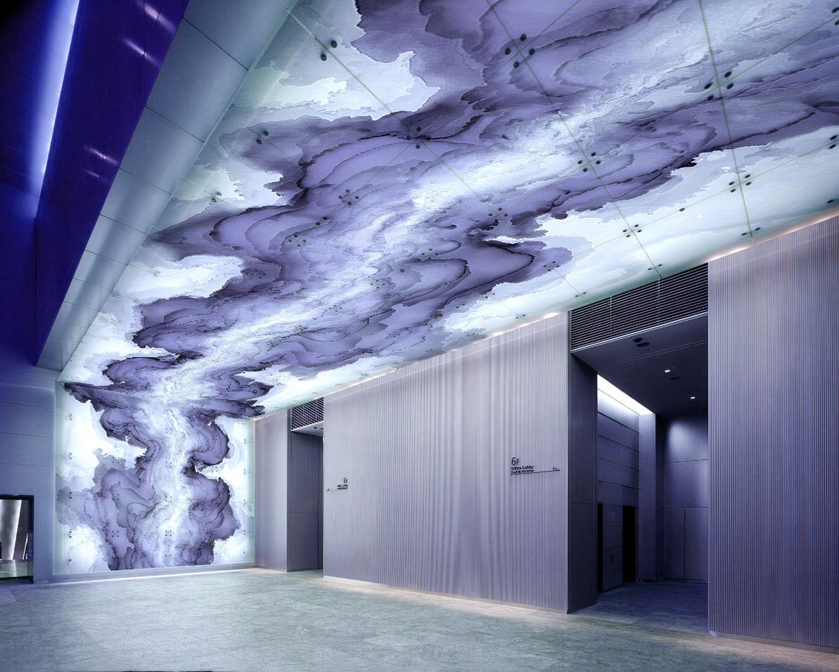 Tobias Tovera lift lobby feature wall art