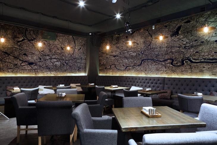 Ewan David Eason feature wall art for restaurant