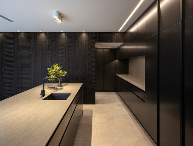 Carved wood feature wall for kitchen
