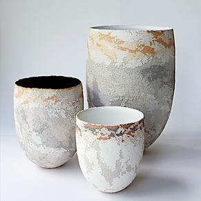 contemporary vase sculpture natural materials