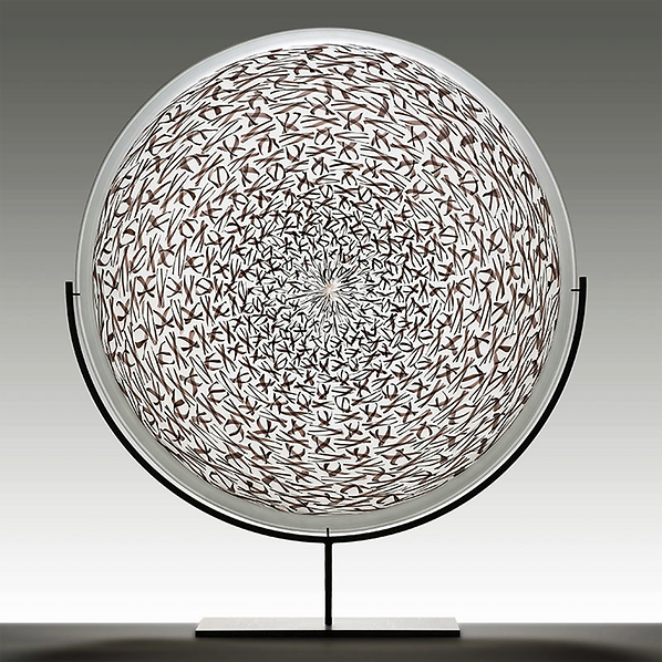 tribal inspired decorative glass patterned sculpture