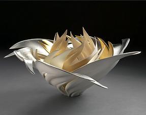 contemporary decorative sculpture gold leaf flower