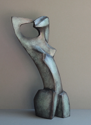 abstract contemporary bronze sculpture of woman