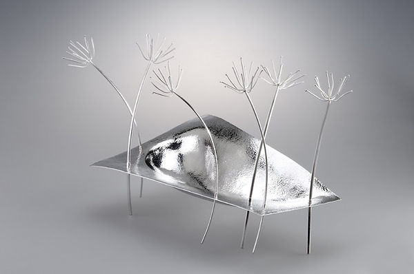 Contemporary silver decorative sculpture for interiors