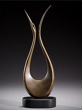 abstract bronze sculpture inspired by bird for interior design
