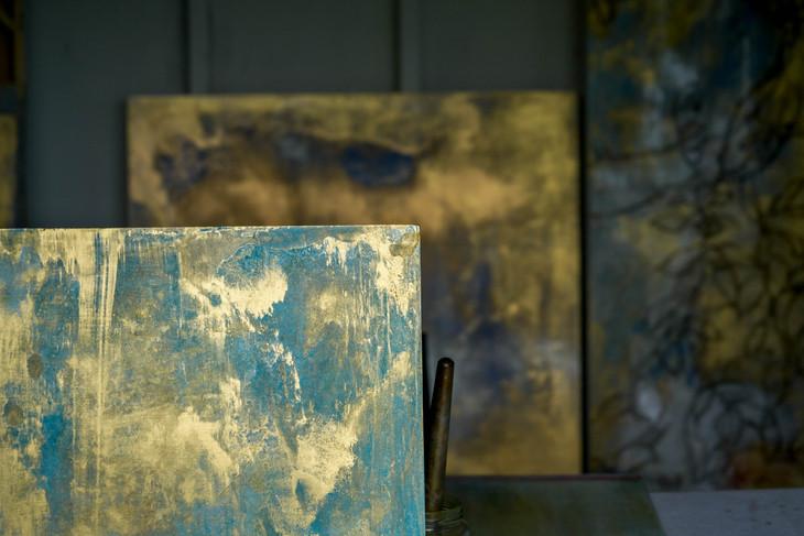 Gold leaf paint wall art