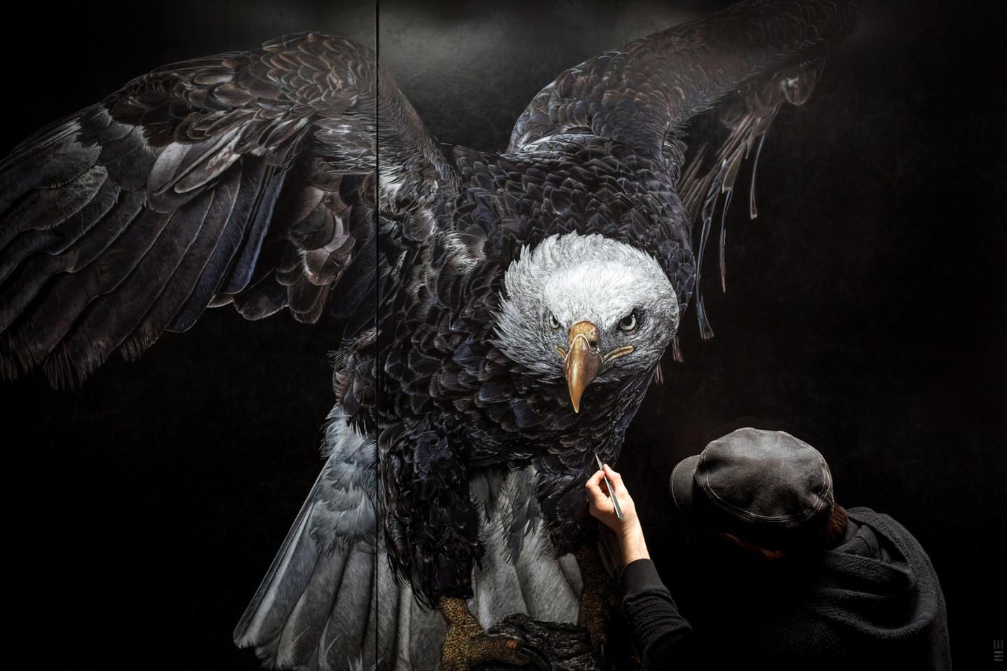 Mark Evans eagle interior mural art
