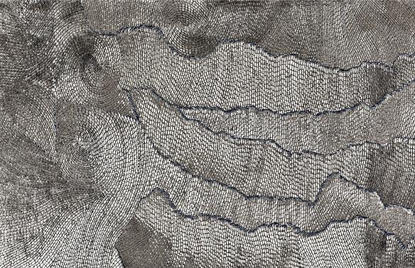 Woven wall art contemporary silver swirl patterns