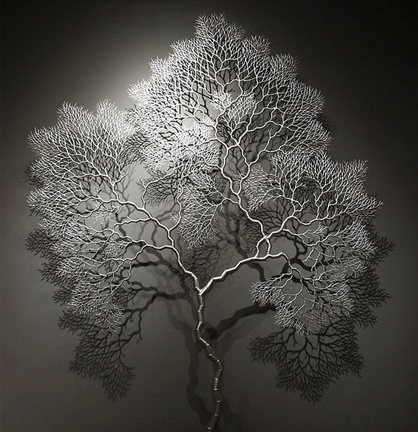 Tree branch inspired silver sculpture contemporary art