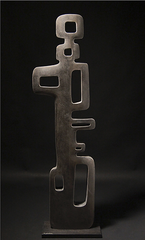 Tribal inspired stone carved contemporary sculpture