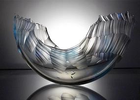 ocean wave inspired blown glass sculpture