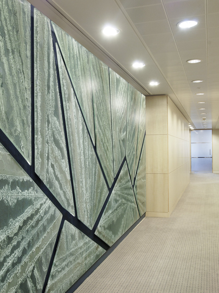 Michelle Keeling glass feature wall art for lobby