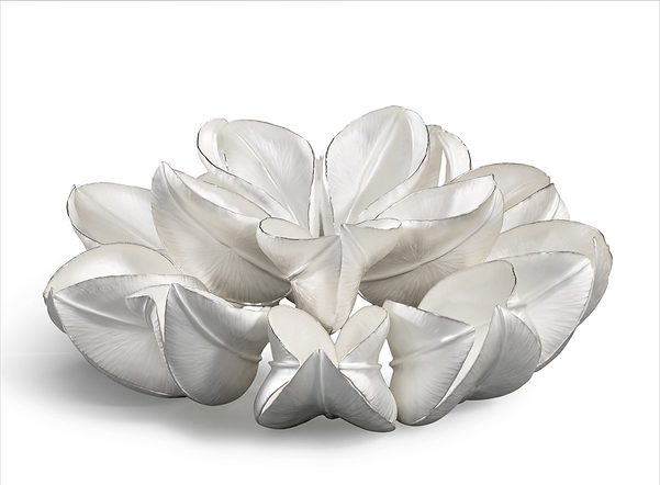 lotus inspired contemporary silver sculpture