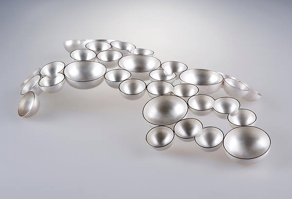 Silver art bowl decorative sculpture