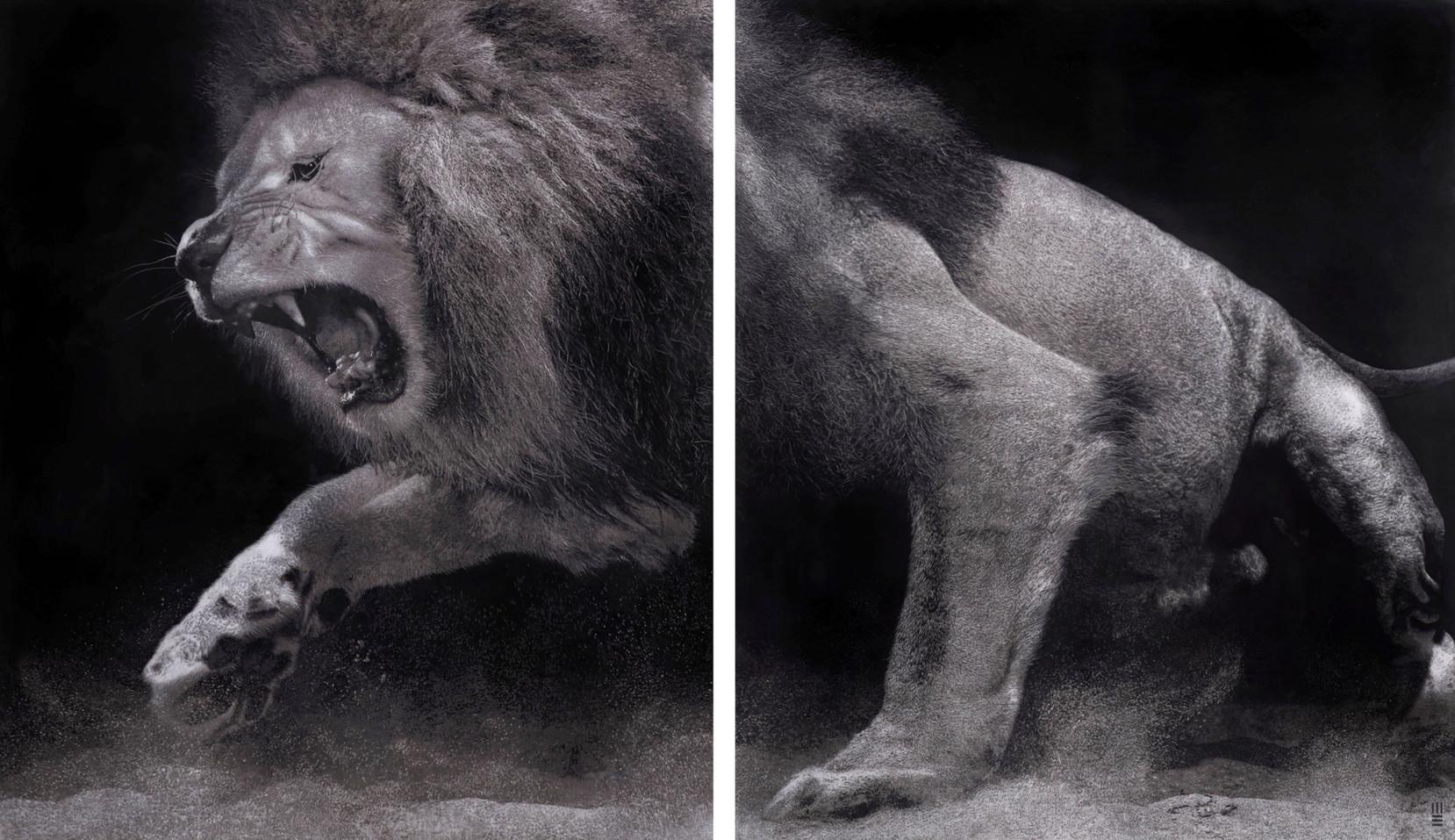 Mark Evans lion interior mural art