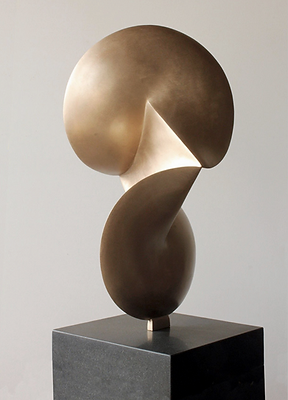 abstract contemporary bronze sculpture of geometric shapes