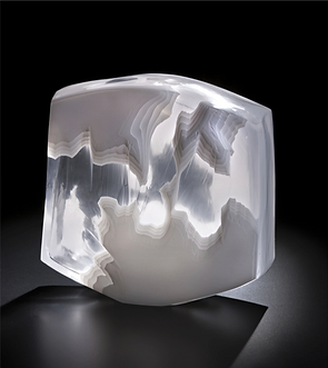 glacier ice inspired contemporary sculpture for interiors