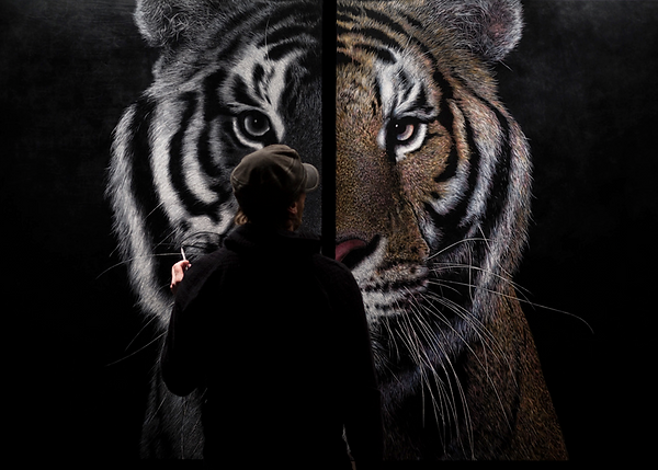 Contemporary tiger portrait etched leather wall art