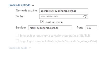 Nova configuração de E-mails pelo Outlook 2016
