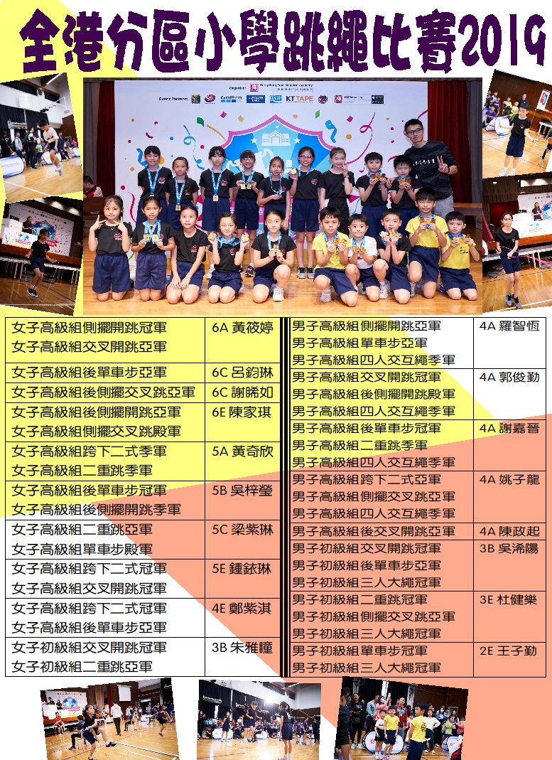 全港分區小學跳繩比賽2019